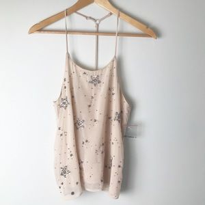 Free People Star Embellished Cami Racerback Tan XS